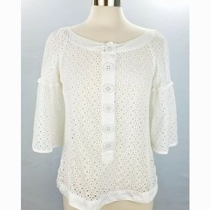 Nanette Lepore White Eyelet Lace Fitted Top Sz 8